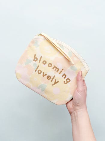 Blooming Lovely Floral Canvas Pouch | Floral Clutch Bag | Alphabet Bags