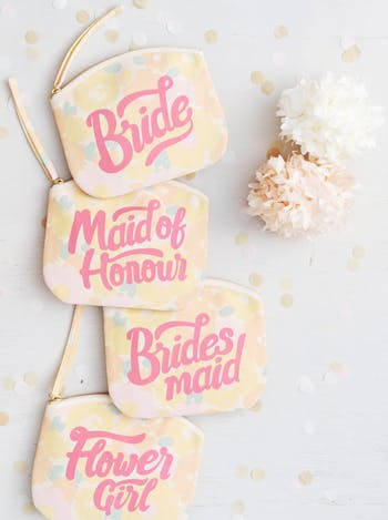 Bride Floral Clutch Bag | Bridal Makeup Bag | Alphabet Bags