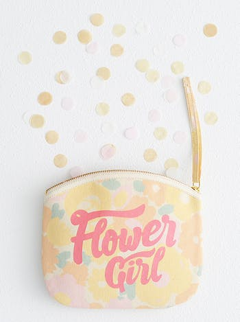 Flower Girl Floral Clutch Bag | Bridesmaid Makeup Bag | Alphabet Bags