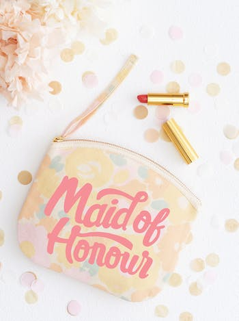 Maid of Honour Floral Clutch Bag | Bridesmaid Makeup Bag | Alphabet Bags