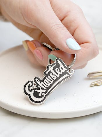 Exhausted | Enamel Keyring | Alphabet Bags