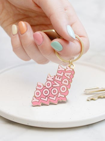You Look Lovely Today | Enamel Keyring | Alphabet Bags