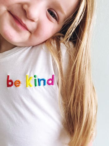 Kids Be Kind Embroidered T-Shirt | Fun Slogan Childs Tee | Alphabet Bags
