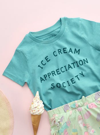 Ice Cream Appreciation Society Teal | Kid's T-Shirt | Alphabet Bags