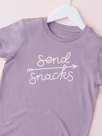 Send Snacks Lavender | Kid's T-Shirt | Alphabet Bags