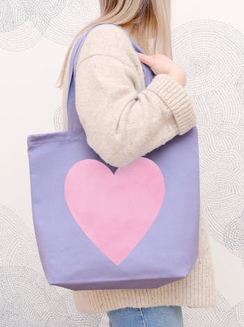 Heart Lavender Tote Bag | Slogan Totes | Alphabet Bags