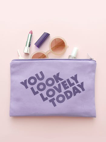 You Look Lovely Today Lavender Pouch | Canvas Zip Purse | Alphabet Bags