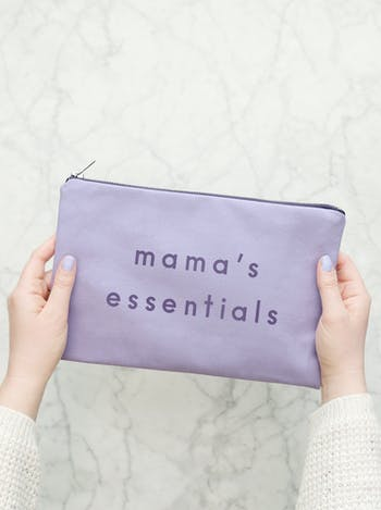 Mama's Essentials Lavender Pouch | Canvas Zip Purse | Alphabet Bags