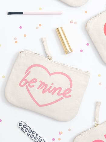 Be Mine Canvas Pouch | Zip Purse | Alphabet Bags
