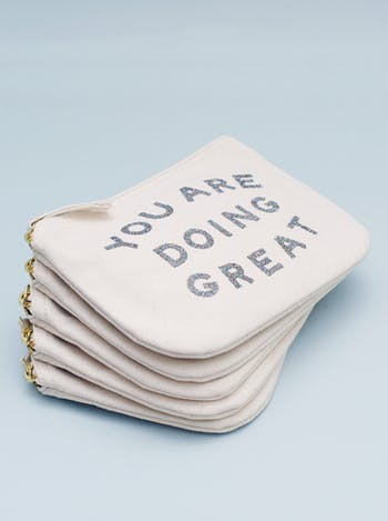 You Are Doing Great Canvas Pouch | Motivational Gifts | Alphabet Bags