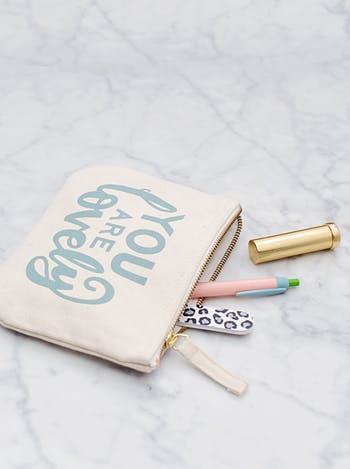 You Are Lovely Canvas Pouch | Inspirational Gifts | Alphabet Bags