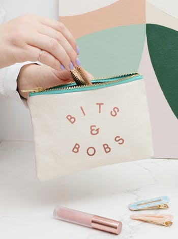 Bits & Bobs Little Canvas Pouch | Zip Purse | Alphabet Bags