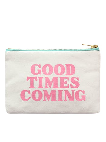 Good Times Coming Little Canvas Pouch | Zip Purse | Alphabet Bags