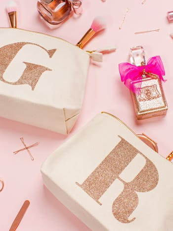 SALE Rose Gold Makeup Bag | Initial Makeup Bag | Alphabet Bags