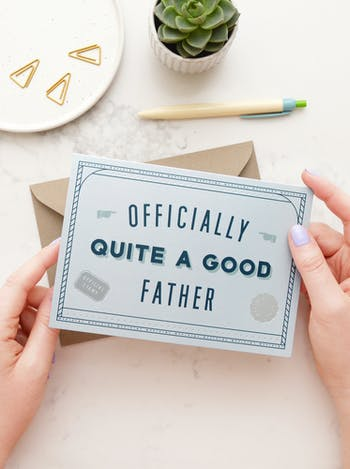 Officially Quite A Good Father | Greeting Card | Alphabet Bags