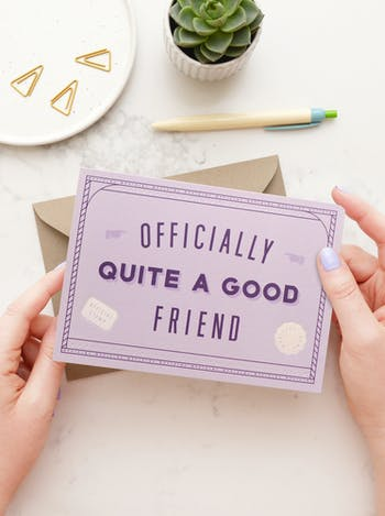 Officially Quite A Good Friend | Greeting Card | Alphabet Bags