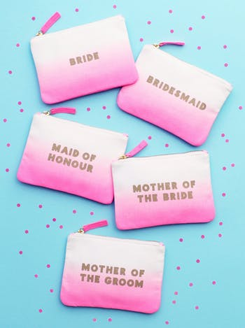 Bride Ombre Wedding Pouch | Bridal Party Bags | Alphabet Bags