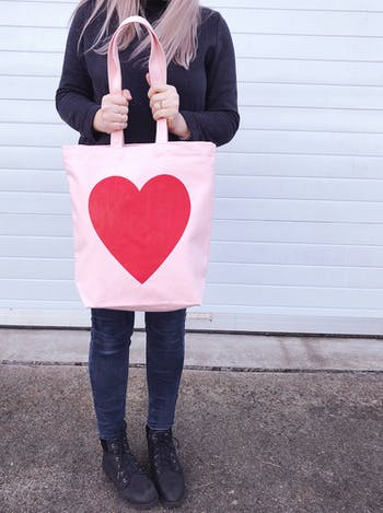 Heart Pink Canvas Tote Bag