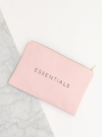 Essentials Pink Canvas Pouch | Blush Pink Clutch | Alphabet Bags