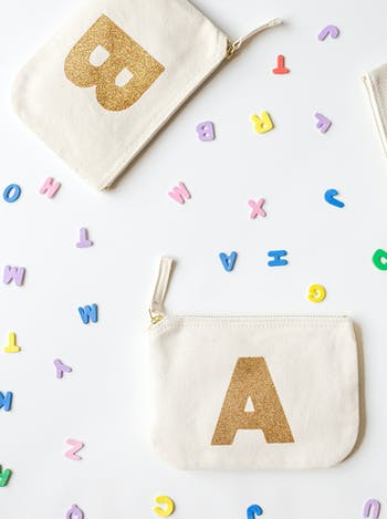 Initial Glitter Canvas Zip Pouch | Personalised Gifts for Her | Alphabet Bags
