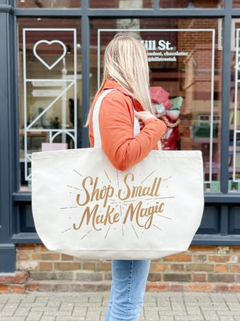 Shop Small Make Magic Really Big Bag | Slogan Totes | Alphabet Bags