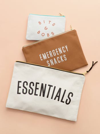 Emergency Snacks Canvas Pouch | Tan Clutch | Alphabet Bags