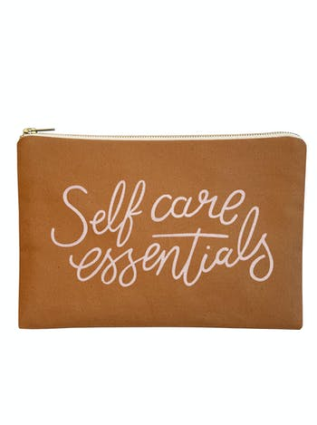Self Care Essentials Canvas Pouch | Tan Clutch | Alphabet Bags
