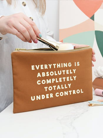 Under Control Canvas Pouch | Tan Clutch | Alphabet Bags