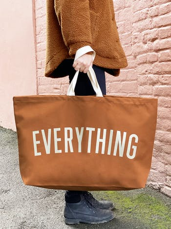 EVERYTHING Tan Really Big Bag | Slogan Totes | Alphabet Bags