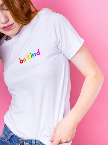 Be Kind Embroidered T-Shirt | Fun Slogan T Shirts | Alphabet Bags