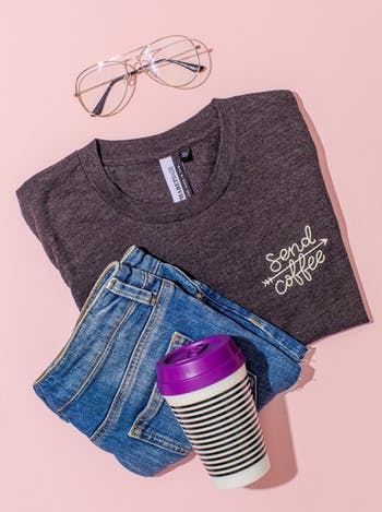 Send Coffee T Shirt | Embroidered Slogan Tee | Alphabet Bags