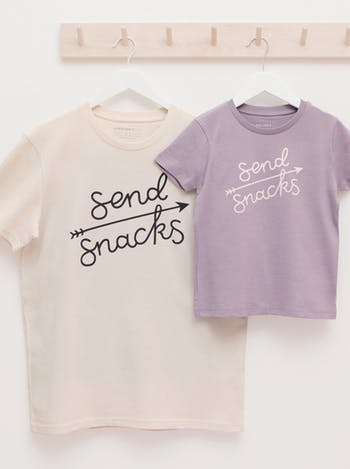 Send Snacks Unisex T-Shirt | Printed Slogan T-Shirt | Alphabet Bags