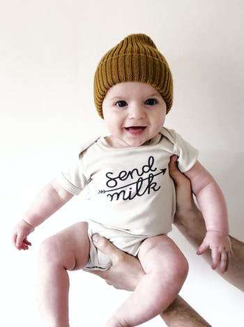 Send Milk Bodysuit | Slogan Babygrows | Alphabet Bags