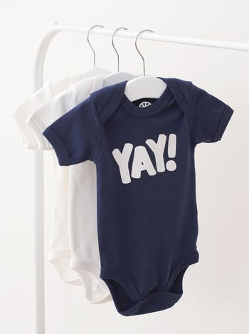 Yay Bodysuit | Slogan Babygrows | Alphabet Bags