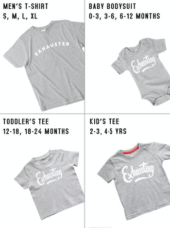 Exhausted/Exhausting T Shirt Set | Gifts For New Dads | Alphabet Bags