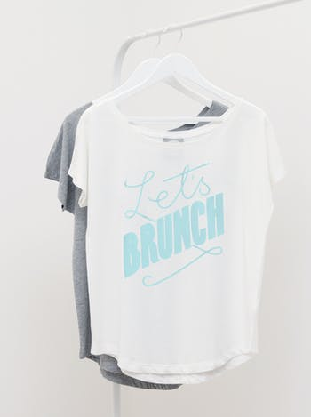 Let's Brunch Womens T Shirt | Ladies Slogan T Shirts | Alphabet Bags