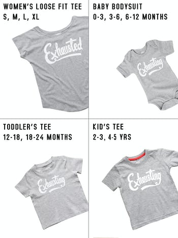 Exhausted/Ehausting T-Shirt Set | Gifts For New Mums | Alphabet Bags