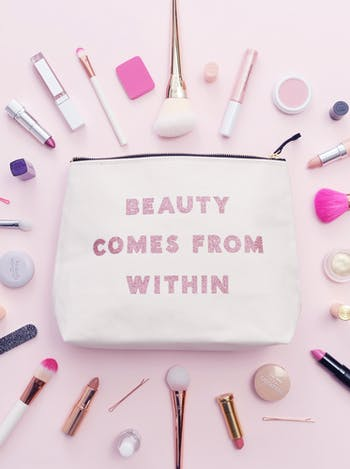 Beauty Comes From Within | Large Makeup Bag | Alphabet Bags
