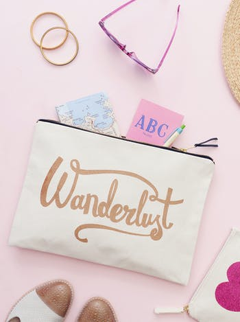 Wanderlust XL Pouch | Canvas Travel Pouch | Alphabet Bags